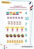 Counting to 10 matching numbers and objects worksheet