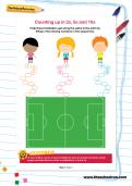Counting up in 2s, 5s and 10s football worksheet