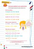 Decimal addition and subtraction worksheet