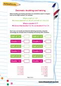 Decimals: doubling and halving worksheet