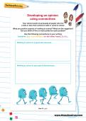 Developing an opinion using connectives worksheet