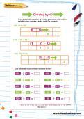 Dividing by 10 worksheet