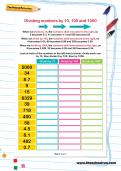 Dividing numbers by 10, 100 and 1000 worksheet