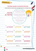 Dividing numbers using short division worksheet