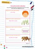 Favourite words collection worksheet