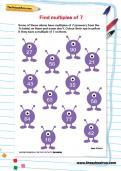 Find multiples of 7 worksheet