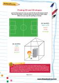 Finding 2D and 3D shapes football worksheet