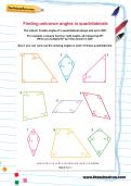 Finding unknown angles in quadrilaterals worksheet