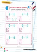 Fractions addition practice worksheet