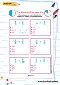 Fractions addition practice worksheet