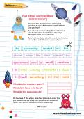Full stops and capitals: a space story worksheet