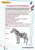 Grouping text into paragraphs worksheet