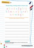 Handwriting worksheet: words in lower case