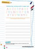 Handwriting worksheet: upper case letters