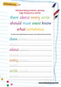 Handwriting practice: joining high-frequency words worksheet