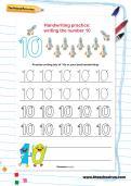 Handwriting practice: writing the number 10 worksheet