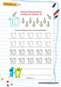 Handwriting practice: writing the number 10 worksheet