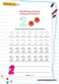 Handwriting practice: writing the number 2 worksheet