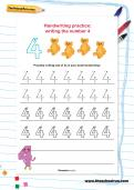 Handwriting practice: writing the number 4 worksheet