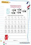 Handwriting practice: writing the number 5 worksheet