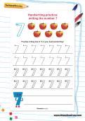Handwriting practice: writing the number 7 worksheet