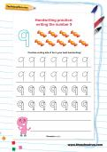Handwriting practice: writing the number 9 worksheet