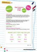 Y1 high frequency words bingo worksheet