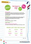 Y1 high frequency words bingo worksheet