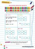 Horizontal subtraction practice worksheet