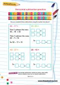 Horizontal subtraction practice worksheet