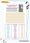Improving writing with powerful verbs worksheet