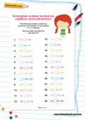 Incomplete number sentences addition and subtraction activity