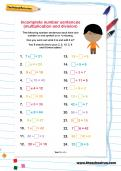 Incomplete number sentences multiplication and division activity