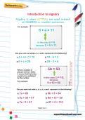 Introduction to algebra worksheet