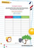 Investigate shadows worksheet