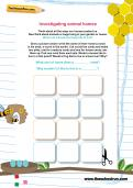 Investigating animal homes worksheet
