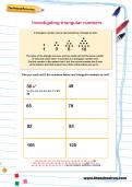 Investigating triangular numbers worksheet