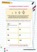 Investigating triangular numbers worksheet