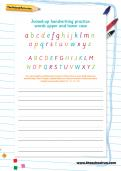 Joined-up handwriting practice: words in upper and lower case worksheet