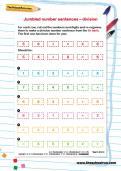 Jumbled number sentences division worksheet