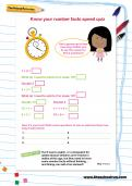 Know your number facts speed quiz worksheet
