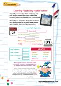 Learning vocabulary related to time worksheet