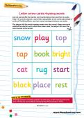 Letter arrow cards rhyming words