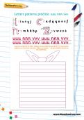 Handwriting letter patterns practice