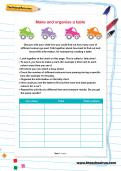 Make and organise a table worksheet