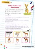 Match animals and their babies activity