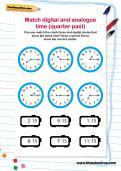 Match digital and analogue time (quarter past) worksheet