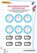 Match digital and analogue time to the hour worksheet
