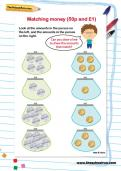 Matching money (50p and £1) worksheet
