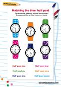 Matching the time half past worksheet